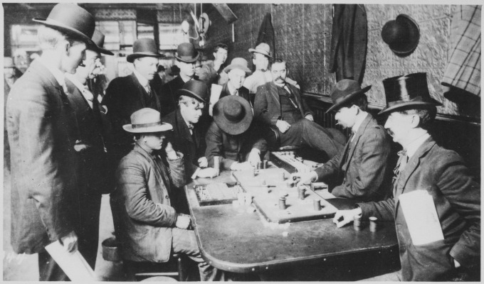 -Orient_Saloon_at_Bisbee,_Arizona..._Faro_game_in_full_blast._Recognized,_Left_to_right-Tony_Downs_(standing_with_derby)_-_NARA_-_530986